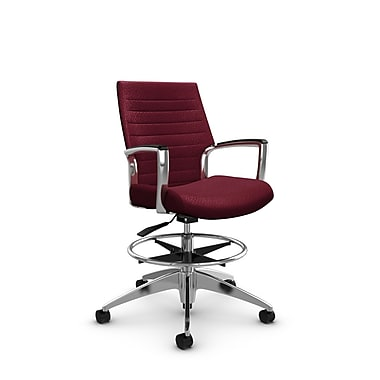 Global Accord Low Back Drafting Chair, Match Burgundy Fabric (Red)