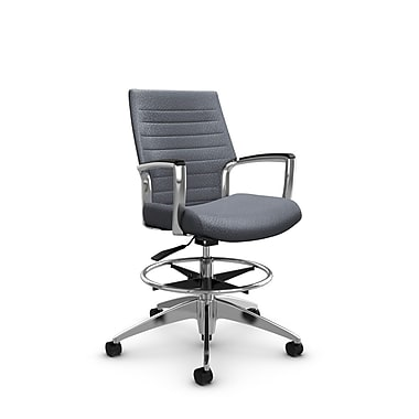 Global Accord Low Back Drafting Chair, Match Grey Fabric (Grey)