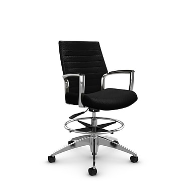 Global Accord Low Back Drafting Chair, Match Black Fabric (Black)