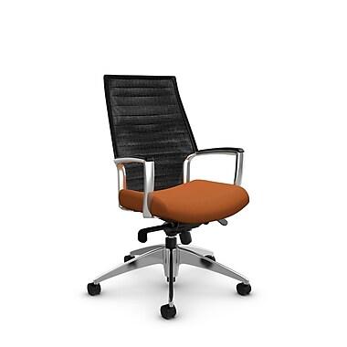 Global Accord High Back Knee Tilter, Imprint Paprika Fabric (Orange), Vue Coal Black Mesh (Black)