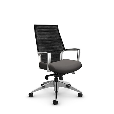 Global Accord High Back Knee Tilter, Imprint Graphite Fabric (Grey), Vue Coal Black Mesh (Black)