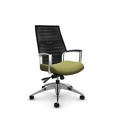 Global Accord High Back Tilter, Imprint Celery Fabric (Green), Vue Coal Black Mesh (Black)