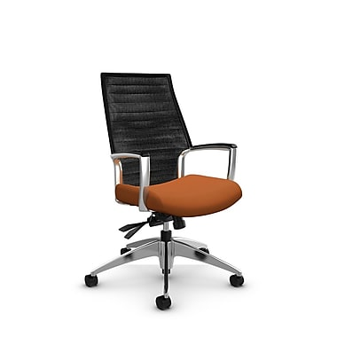 Global Accord High Back Tilter, Imprint Paprika Fabric (Orange), Vue Coal Black Mesh (Black)