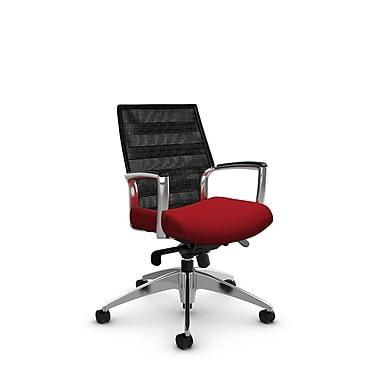 Global – Fauteuil Accord à dossier bas en filet à lignes noir charbon inclinable aux genoux, imprimé rouge pomme (rouge)