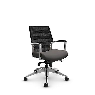 Global Accord Low Back Knee Tilter, Imprint Graphite Fabric (Grey), Vue Coal Black Mesh (Black)