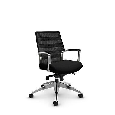 Global Accord Low Back Knee Tilter, Imprint Licorice Fabric (Black), Vue Coal Black Mesh (Black)