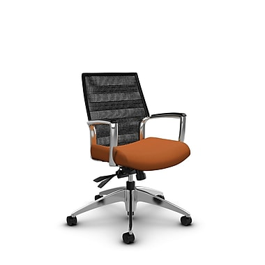 Global – Fauteuil Accord à dossier bas en filet à lignes noir charbon inclinable, imprimé paprika (orange)