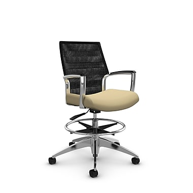 Global Accord Mid Back Drafting Chair, Imprint Fabric, Vue Coal Black Mesh (Black)