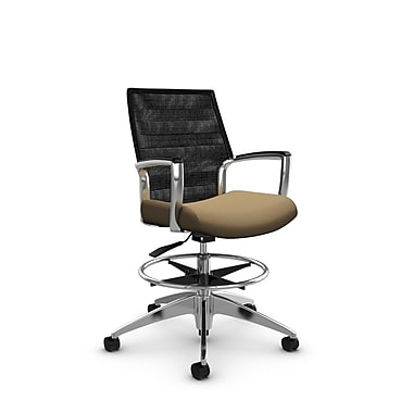 Global Accord Mid Back Drafting Chair, Imprint Cork Fabric (Tan), Vue Coal Black Mesh (Black)