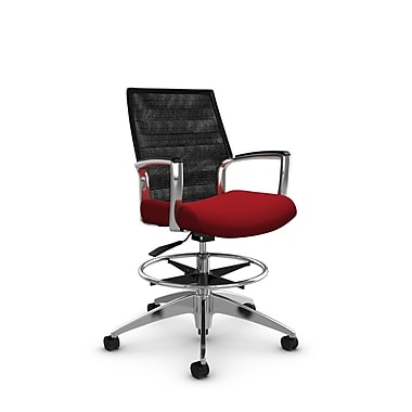 Global Accord Mid Back Drafting Chair, Imprint Candy Apple Fabric (Red), Vue Coal Black Mesh (Black)