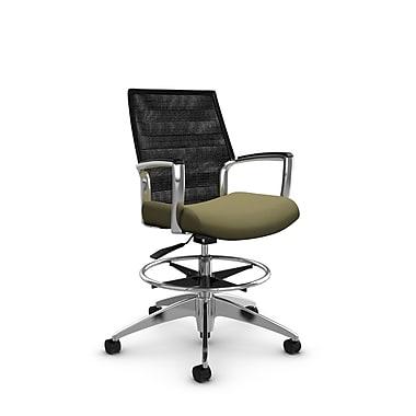 Global Accord Mid Back Drafting Chair, Imprint Oregano Fabric (Green), Vue Coal Black Mesh (Black)