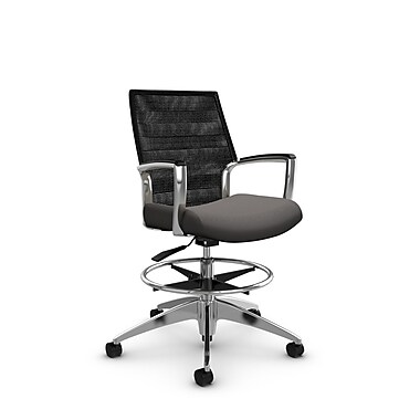 Global Accord Mid Back Drafting Chair, Imprint Graphite Fabric (Grey), Vue Coal Black Mesh (Black)