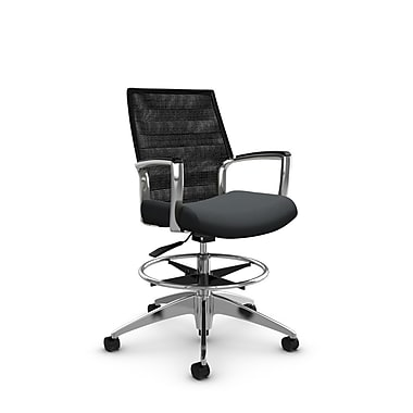 Global Accord Mid Back Drafting Chair, Imprint Slate Fabric (Grey), Vue Coal Black Mesh (Black)