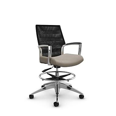 Global Accord Mid Back Drafting Chair, Match Desert Fabric, Vue Coal Black Mesh (Black)