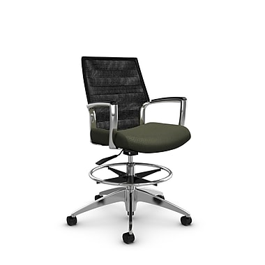 Global Accord Mid Back Drafting Chair, Match Moss Fabric (Green), Vue Coal Black Mesh (Black)
