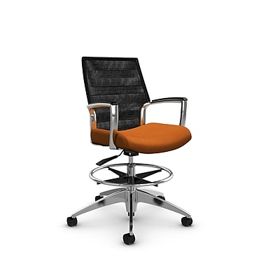 Global Accord Mid Back Drafting Chair, Match Orange Fabric (Orange), Vue Coal Black Mesh (Black)