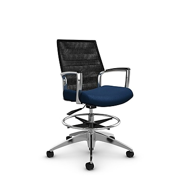 Global Accord Mid Back Drafting Chair, Match Wave Fabric (Blue), Vue Coal Black Mesh (Black)