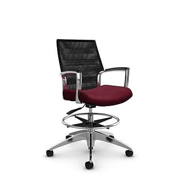 Global Accord – Chaise pour dessinateur à dossier moyen, fini bourgogne (Rouge), dossier en filet noir charcoal (Noir)