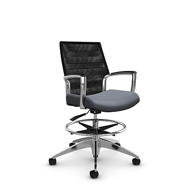 Global Accord Mid Back Drafting Chair, Match Grey Fabric (Grey), Vue Coal Black Mesh (Black)