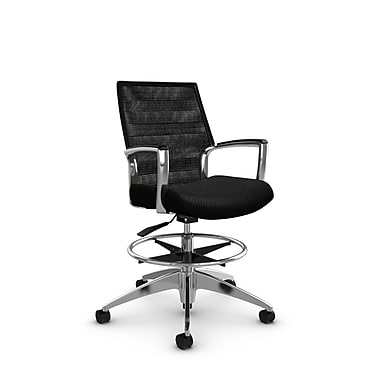 Global Accord Mid Back Drafting Chair, Match Black Fabric (Black), Vue Coal Black Mesh (Black)