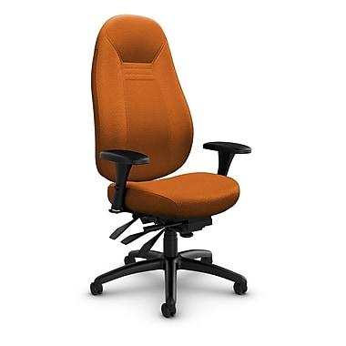 Global – Fauteuil ObusForme Comfort, dossier haut, basc. multi, tissu agencé, orange