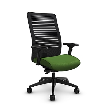 Global Loover High Back Mesh Synchro Tilter, Match Green Fabric (Green) Vue Coal Black Mesh (Black)