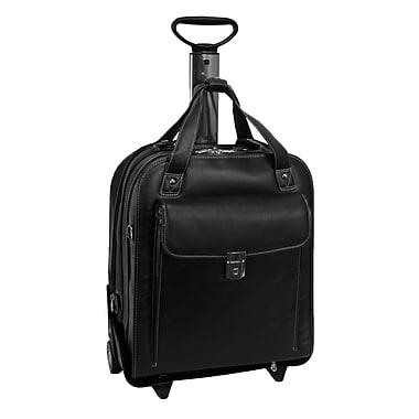 Siamod Pastenello Leather Vertical Detachable-Wheeled Laptop Case, Black