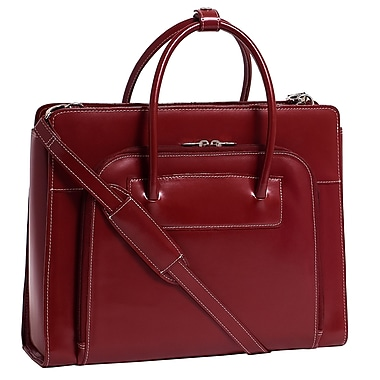 McKlein USA® Lake Forest W Series Red Leather Ladies Briefcase For 15.4