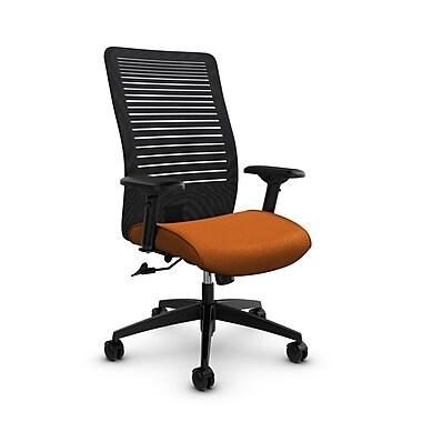 Global – Fauteuil Loover inclinable, dossier haut en filet (noir) à lignes ouvertes, tissu orange