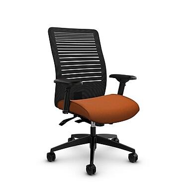 Global Loover Mid Back Mesh Tilter, Imprint Paprika Fabric (Orange) Vue Coal Black Mesh (Black)