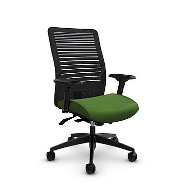 Global – Fauteuil Loover inclinable, dossier en filet à lignes ouvertes noir charbon, mi-dos, tissu couleur vert
