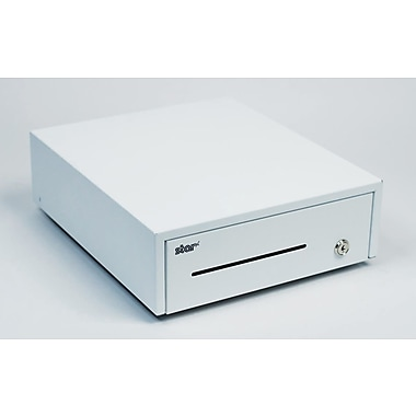 Star Micronics Cash Drawer, White, 12Wx14D, Printer Driven, 5Bill-5Coin, DK Ready with CD1 Cable