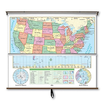 Universal Map Essential Wall Map Combo - U.S. / World