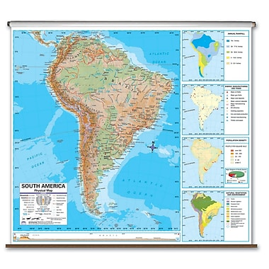 Universal Map Advanced Physical Map - North America; Roller With Backboard