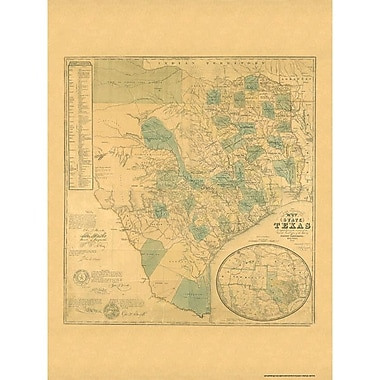 Universal Map Texas 1853 Historical Map; Framed