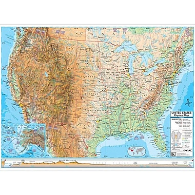 Universal Map U.S. Advanced Physical Map; Framed