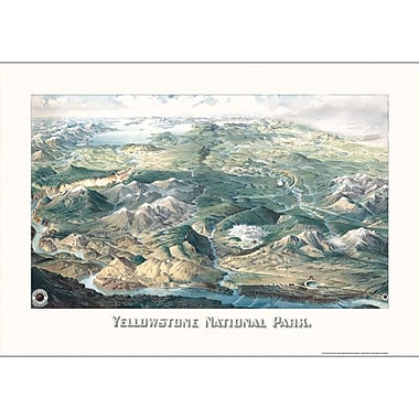 Universal Map Yellowstone National Park 1904 Historical Map; Framed