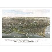 Universal Map Washington 1880 Historical Print Mounted Wall Map