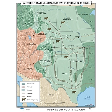Universal Map U.S. History Wall Maps - Western Railroads & Cattle Trails