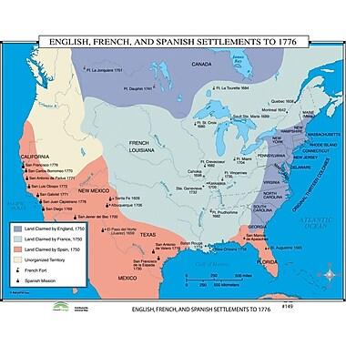 Universal Map World History Wall Maps - English, French & Spanish Settlements to 1776