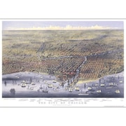 Universal Map Chicago 1874 Historical Print Mounted Wall Map