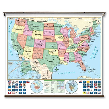 Universal Map Essential Wall Map - United States; Roller and Backboard