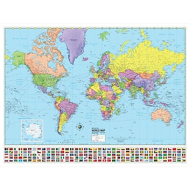 Universal Map World Advanced Political Map; Framed
