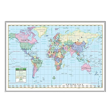 Universal Map World Primary Mounted Framed Wall Map; Silver