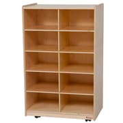 Wood Designs 10 Compartment Cubby w/ Casters; No Tray