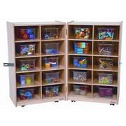 Wood Designs Folding Vertical Storage Unit 20 Compartment Cubby; Clear Tray