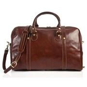 Tony Perotti Milano 18'' Italian Leather Weekender Duffel; Brown