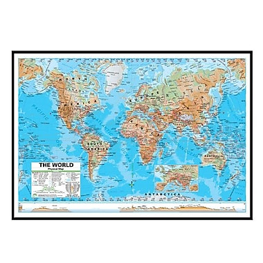 Universal Map World Advanced Physical Mounted Framed Wall Map; Black