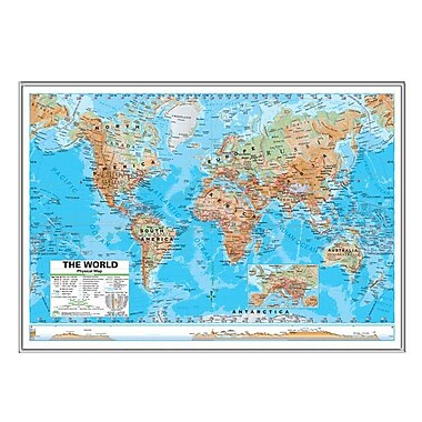 Universal Map World Advanced Physical Mounted Framed Wall Map; Silver