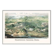 Universal Map Yellowstone National Park 1904 Historical Print Mounted Framed Wall Map; Silver